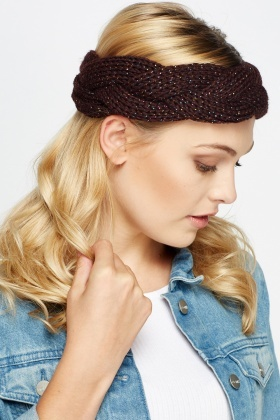 Metallic Cable Knit Headband