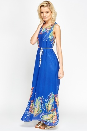 Printed Hem Tie Up Maxi Dress