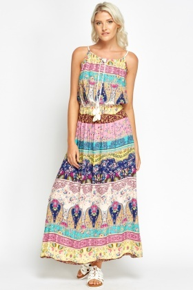 Multi Print Cotton Maxi Dress