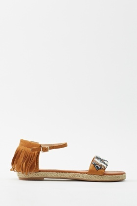 Embroidery Tassel Back Sandal