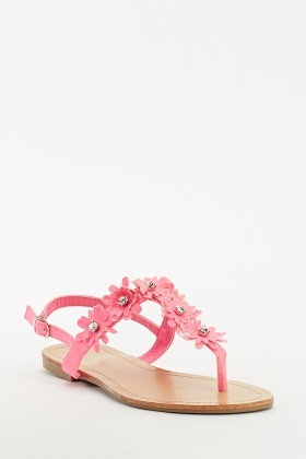 Encrusted Floral Flip Flop Sling Backs