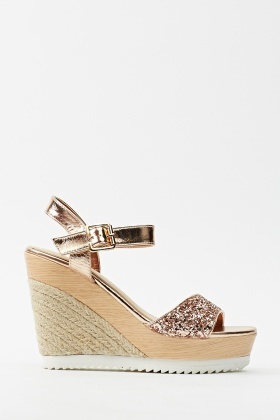 Glitter Metallic Contrast Wedge