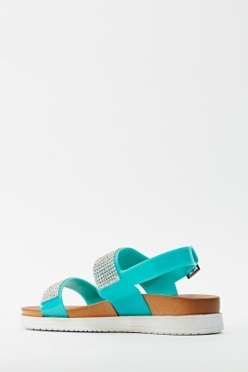 Light Blue PU Encrusted Flatforms