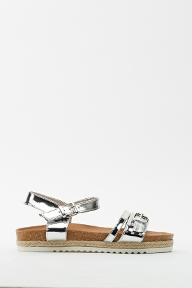 Metallic Buckle Open Toe Sandals