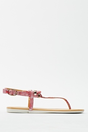 Metallic Mock Croc Sandal