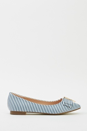 Striped Court Bow Flats
