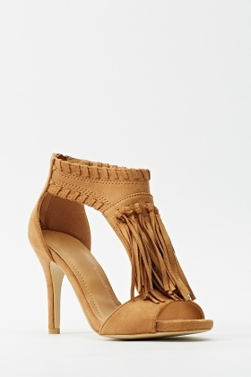 Suedette Fringed Cut Heels