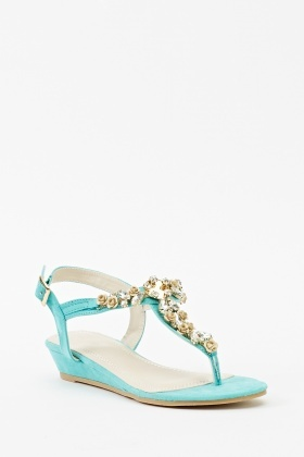 Yellow Embellished Flip Flop Wedge Sandal