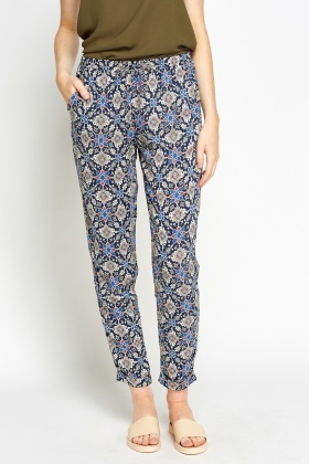 Abstract Print Casual Trousers