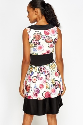 Flower Print Contrast Skater Dress
