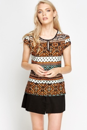 Ornate Rust Shell Top
