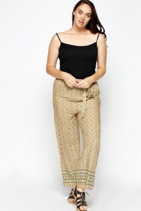 Printed Wide Leg Casual Trousers