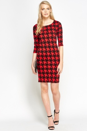 Red Houndstooth Bodycon Dress