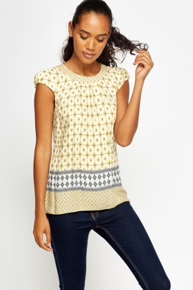 White Printed Shell Casual Top