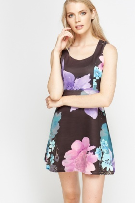 Black Wide Floral Skater Dress