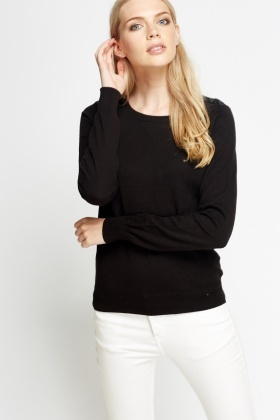 Button Shoulder Knit Long Sleeve Top