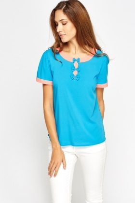 Bow Front Sky Blue Top
