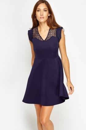 Mesh Insert Swing Dress