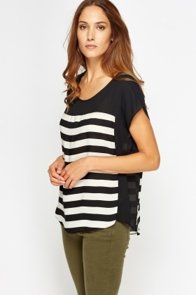 Striped Print Block Top