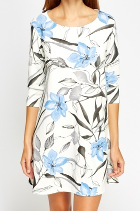 White A-Line Printed Swing Dress