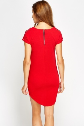 Zip Detail Textured Mini Dress