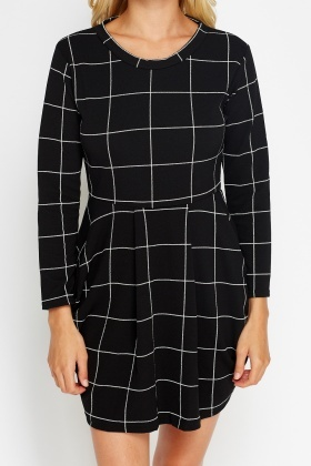 Check Grid Black Dress