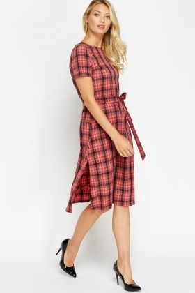 Check Grid Tie Waist Midi Dress