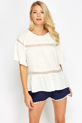 Insert Lace Flare Top