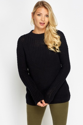 Loose Knit Ribbed High Neck Jumper
