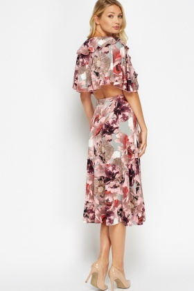 Low Plunge Frilled Midi Dress