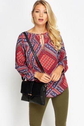 Printed Keyhole Long Sleeve Top