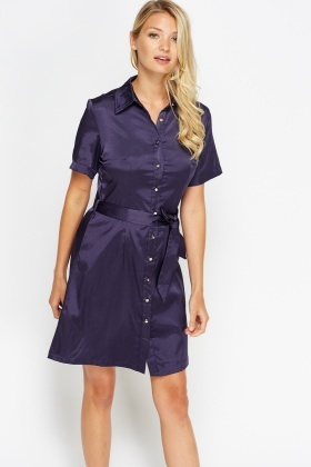 Satin Shirt Belted Dress
