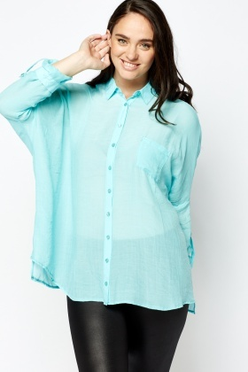 Sheer Sky Blue Shirt Blouse