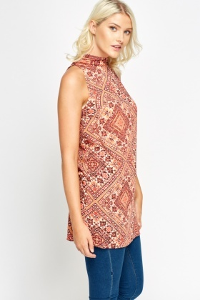Coral Ornate High Neck Long Top