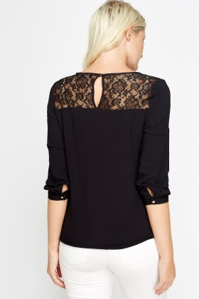 Insert Lace Black Top