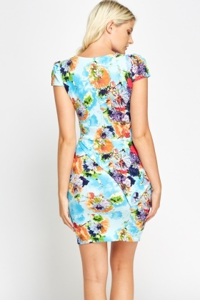 Textured Floral Peplum Side Dress
