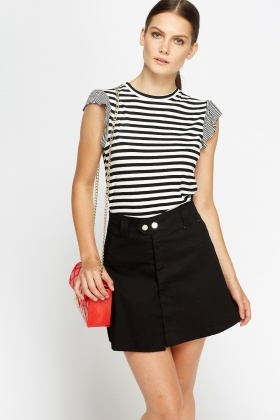 Black Striped Flare Sleeve Top