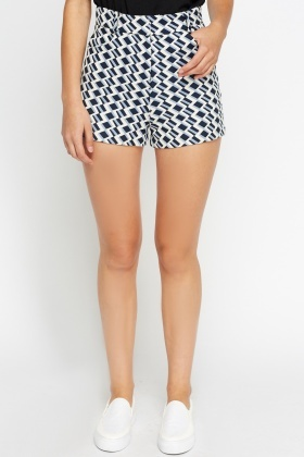 High Waisted Mono Print Shorts