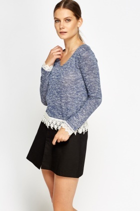 Mesh Trim Speckled Knit Top