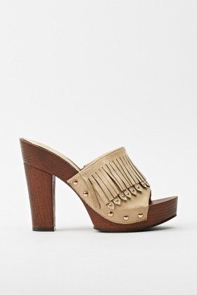 Studded Fringed Block Heels