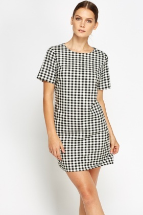 White And Black Checked Dress