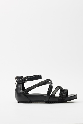 Nero Encrusted Strappy Sandals