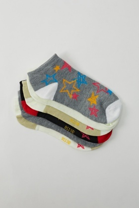 Star Printed 6 Pairs Invisible Socks