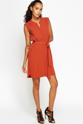 Brick Shirt Tie Up Dress