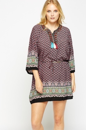 Contrast Hem Tunic Dress
