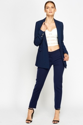Open Front Lined Navy Blazer
