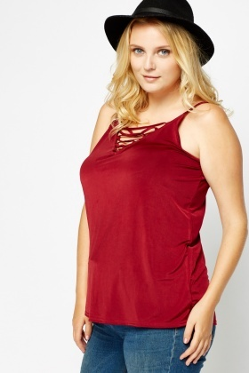 Burgundy Laced Crossed Cami Top