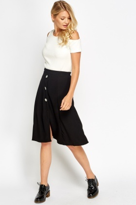 High Waisted Button Swing Skirt