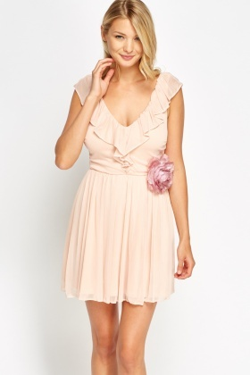 Light Peach Flared Flower Dress