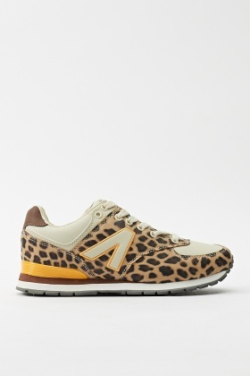 Animal Print Lace Up Trainers